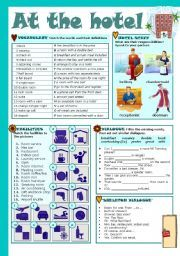 English worksheet: AT THE HOTEL
