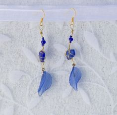 Items similar to Dark Blue Sea Glass Earrings on Etsy Glass Earrings, Sea Glass, Tassel Necklace, Dark Blue, Trending Outfits, Unique Jewelry, Handmade Gifts, Etsy, Vintage