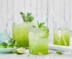 Cucumber, lime and elderflower coolers This refreshing cooler makes the perfect non-alcoholic drink to please guests with on a hot summer day. Finished off with elegant strips of cucumber and fresh mint, it's the classiest mocktail around! Summer Drink Recipes, Summer Drinks, Slushies, Elderflower Drink, Cucumber Drink, Non Alcoholic Cocktails, Drink Recipes Nonalcoholic, Mojito Mocktail, Tesco Real Food