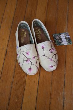 1cb1183e5da Size 7.5 - Cherry Blossoms Custom TOMS Shoes - Ready to Ship
