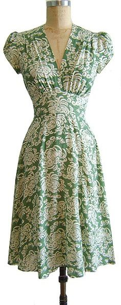 Vintage green and white dress.