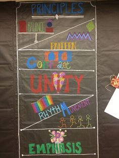 Art room Middle School Art, Art School, School Ideas, Art Bulletin Boards, Art Boards, Elements And Principles, Elements Of Art, Classroom Design, Classroom Ideas
