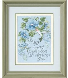 "Hummingbird and Morning Glories - Cross Stitch Kit.  ""Praise God from whom all blessings flow"""