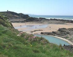 Summerleaze Beach & tidal pool, Bude, North Cornwall, England, UK. Had great times body boarding here!