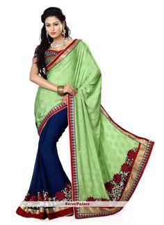 Royal Blue And Light Green Half N Half Chiffon Saree