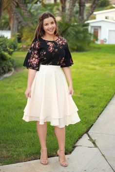 Our Nicole top & Veronica ivory skirt are available now! Grab one before they are gone! Curvy Fashion, Modest Fashion, Skirt Fashion, Plus Size Fashion, Fashion Dresses, Cute Skirt Outfits, Curvy Outfits, Plus Size Outfits, Dress Outfits