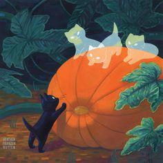 Heather Franzen - Halloween Reunion - Fantasie - Katzen World Halloween Illustration, Art And Illustration, Art Inspo, Kunst Inspo, Inspiration Art, Fantasy Kunst, Fantasy Art, Art Mignon, Halloween Art
