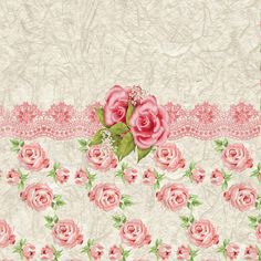 Pink Roses Digital Art - Vintage Pink And Cream Rose Pattern by Debra  Miller
