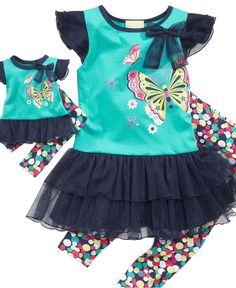 Sweet Heart Rose for Dollie and Me Kids Set, Little Girls Shirt and Leggings with Matching Doll Outfit