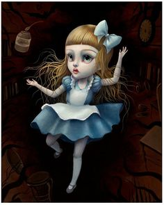 Alice Falling - Limited Edition Alice in Wonderland by Mab Graves.
