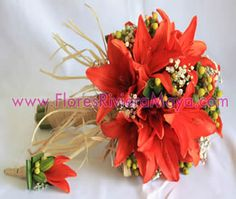 Tiger Lilies rustic bridal bouquet and buttonierre.     Wrong color of lilies and ditch the rustic part...