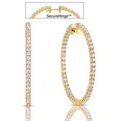 14k Yellow Gold Diamond Hoop Earrings - 3.10 Carat Diamond Weight in 14k Yellow Gold - JewelryWeb Style: KSE187188Y - FREE gift-ready jewelry box