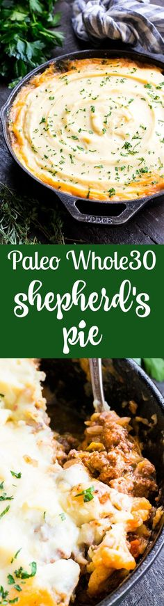 This Shepherd's Pie is classic, cozy comfort food for cold winter days! It's paleo and Whole30 compliant, dairy free and kid approved. A flavorful, hearty ground beef mixture is topped with creamy dairy-free mashed potatoes, and baked until golden brown and bubbling.