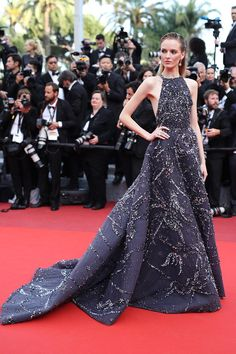 Model Daria Strokous' red carpet hair with her embellished Zuhair Murad Couture gown at the 'Loving' premiere, Day 6 of the 2016 Cannes Film Festival. Photo: Getty.