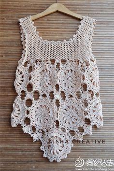 Crochet Bolero Pattern, Crochet Jacket, Crochet Blouse, Knit Crochet, Crochet Patterns, Crochet Summer Tops, Crochet Crop Top, Crochet T Shirts, Crochet Clothes