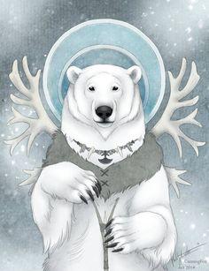 Polar bear spirit animal (protection/white, big/safe, warm/comfort) - Inuit Bear by CunningFox