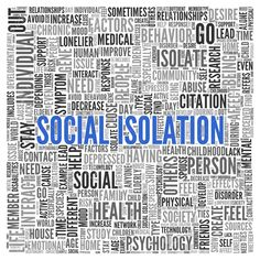 Close up Blue SOCIAL ISOLATION Text at the Center of Word Tag Cloud on White Background.