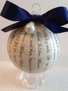 Personalized Wedding Ornament ~ Unique, Elegant and Custom Made ~ Personalized Wedding Keepsake Gift / Wedding Invitation/Wedding Vows