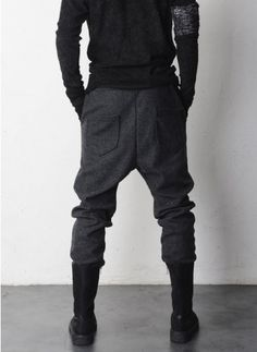 Mens Drop Crotch Woolen Jersey Dress Pants at Fabrixquare $52