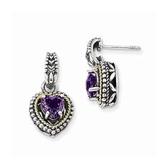 Jewelry Best Seller Sterling Silver w/14k Antiqued Amethyst Heart Post Dangle Earrings - http://www.bestseller.ws/blog/clothing-shoes-jewelry/jewelry-best-seller-sterling-silver-w14k-antiqued-amethyst-heart-post-dangle-earrings/