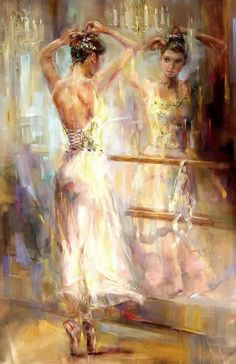 Dancer in the Mirror - Painting by Anna Razumovskaya