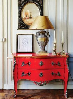 Love this piece! Great color...not digging the lamp but great statement piece. Eclectic Decor - The Cottage Market