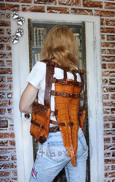 4lapki custom holster shoulder bag cow hide leather genuine crocodile tail #steampunk handcrafted / сумка жилет кобура натуральная кожа крокодил ручная работа