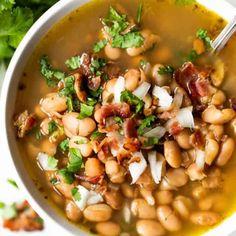 Charro Beans (Frijoles Charros) - House of Yumm Lentil Recipes, Bean Recipes, Side Dish Recipes, Soup Recipes, Cooking Recipes, Gf Recipes, Cooking Food, Vegetable Recipes, Seafood Recipes