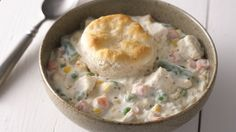 "Home-Style Turkey and Biscuit Casserole using Green Giant veggies. Tastes like dinner at Grandma's…but without all the work. The ""secret"" is in the freezer section. Only takes 15 minutes to prep."