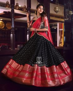 Beautiful black and pink color combiantion lehenga and blouse with net dupatta. Lehenga with big jari boarder. Blouse with jari sleeves.For orders/queries Call/ whats app orMail tejasarees Li Indian Lehenga, Half Saree Lehenga, Lehnga Dress, Saree Look, Black Lehenga, Lehenga Gown, Lehenga Choli Designs, Saree Blouse Designs, Designer Bridal Lehenga
