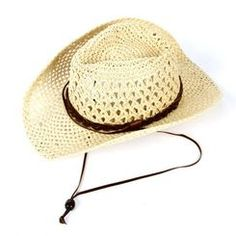 Open Weave Paper Panama Brown Strap Cowboy or Cowgirl Hat