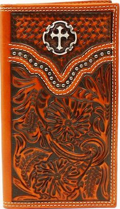 Western Tan Floral Tooled & Basketweave Rodeo Wallet with Cross Concho Stunning leather rodeo wallet with tooled and basketweave design with silver studded accents and cross concho. Inside has 3 open pockets, plenty of credit card slots and an ID slot. Leather Carving, Leather Tooling, Tooled Leather, Custom Wallets, Leather Bible Cover, Bible Covers, Leather Pattern, Custom Leather, Basket Weaving