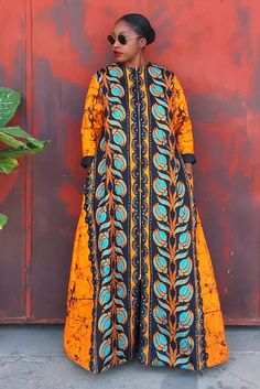 MD Akantu Duster by mangishi-doll - Long dresses - Afrikrea Long African Dresses, African Wedding Dress, African Fashion Dresses, Long Dresses, South African Traditional Dresses, Ankara Maxi Dress, Ankara Gown Styles, Maternity Gowns, Plus Size Maxi Dresses