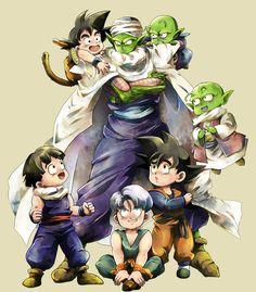 DBZ Piccolo and gohan, trunks, goten, goku, dende Dragon Ball Z, Blade Runner, Akira, Fan Art, Anime Manga, Anime Art, Goten Y Trunks, Goku Y Vegeta, Son Goku