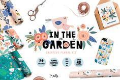 Ad: IN THE GARDEN creative floral kit by solmariart on IN THE GARDEN New creative floral kit This adorable collection include 20 seampless patterns, 6 premade floral compositions and clipart with Graphic Design Pattern, Graphic Patterns, Vector Pattern, Pattern Art, All Design, Free Design, Free Graphics, Textures Patterns, Art Patterns