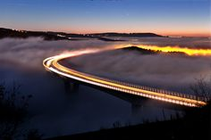 "Viaduct Crni Kal, Slovenia drowning in low cloudiness and fog at sunset. / Photo ""Heaven"" by Marko Korošec Beautiful Roads, Beautiful Landscapes, Beautiful Images, Eye Of The Storm, Ghost Adventures, Heaven On Earth, Slovenia, Places Around The World, Nature Photos"