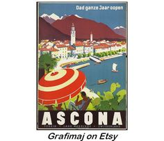 Instant Download  Vintage Travel Poster  Ascona by Grafimaj