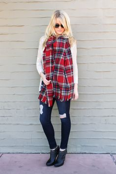 Red Plaid Blanket Scarf 39 dollar