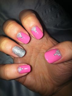 CND Shellac Nail Art - Gotcha with glitter paste of Mother of Pearl and Gosh Silver glitter and diamantés.