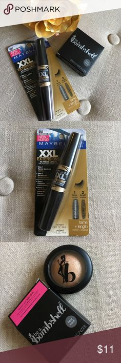 """Bronzer and Mascara Bundle This Bronzer and Mascara Bundle is a great deal it's sort of like BOGO but even better savings! Bronzer is be a... bombshell """"Baked Bronzer"""" in color """"heat wave."""" Mascara is Maybelline New York XXL Extensions in color """"Brownish-Black."""" This mascara is hard to find and expensive on eBay! Both new, never used! Offers welcome, must clear out some make-up before I move! Maybelline Makeup Bronzer"""