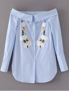Off Shoulder Floral Stripe Shirt Dress - LIGHT BLUE S