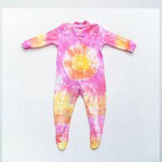 Tie Dye Baby Bodysuit Romper Orange Yellow & Pink by AbiDashery