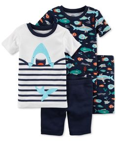 Carter's 4-Pc. Shark-Print Cotton Pajama Set, Baby Boys