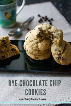 Who doesn't like Chocolate Chip Cookies? We made ours with dairy-free butter and dark chocolate chips to make them suitable for Vegans, but they taste just as good as the ones made with real butter. We also substituted the usual white wheat flour with medium rye for the deeper earthier flavour! So if you're after something slightly different, try our Vegan Rye Chocolate Chip Cookies! #ryeflourrecipes #vegancookies #veganchocolatechipcookies Vegan Dark Chocolate, Vegan Chocolate Chip Cookies, Easy Vegan Cookies, Dairy Free Spread, Cookie Calories, Dairy Free Milk, Baking Flour, Vegan Baking, Easter Recipes