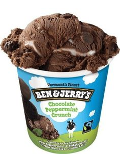 Chocolate Peppermint Crunch: Chocolate ice cream with peppermint and fudge swirls and mint chocolate cookie balls. Pint Of Ice Cream, Yummy Ice Cream, Chocolate Chip Ice Cream, Mint Chocolate Chips, Chocolate Covered, Chocolates, Ben Et Jerrys, Ice Cream Flavors List, Mantecaditos