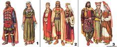 Одежда антов (киевской и пеньковской культуры: 1 - княжеская погребельная, 2 - княжеская обыденная, 3 - общинников 5 - 7 веков)