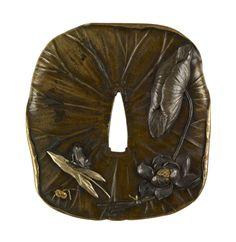 Tsuba in the Shape of a Lotus Leaf  Toshimitsu (Japanese) (Artist)