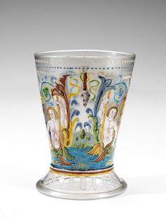 Beaker, (made). Beaker, blown glass with enamelled and gilt decoration, Italy (Venice), Museum Number Murano Glass, Venetian Glass, Antique Glass, Antique Art, Glass Vessel, Glass Art, Vases, Renaissance Era, Drinking Glass