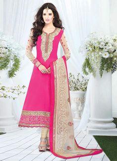 Pink Handloom Cotton Churidar Suit