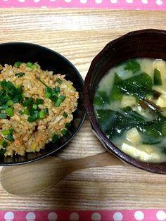 朝から笑 - 29件のもぐもぐ - 鮭チャーハン&お味噌汁☆ by vivi93